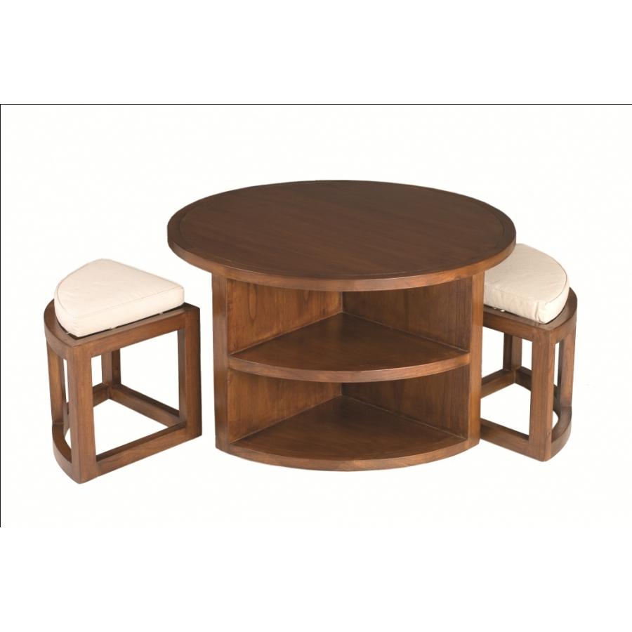 Table basse ronde 2 tabourets avec coussins dpi import - Table basse ronde avec poufs integres ...