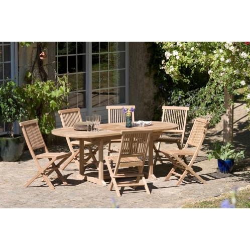 Salon de jardin n°2 en teck comprenant 1 table ovale / 6 ...