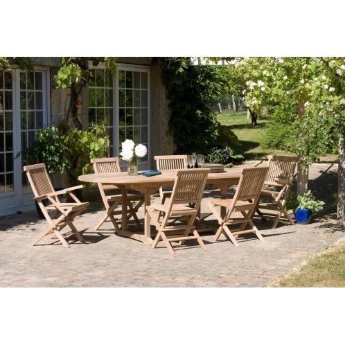 Salon de jardin n°3 en teck comprenant 1 table ovale / 4 chaises ...