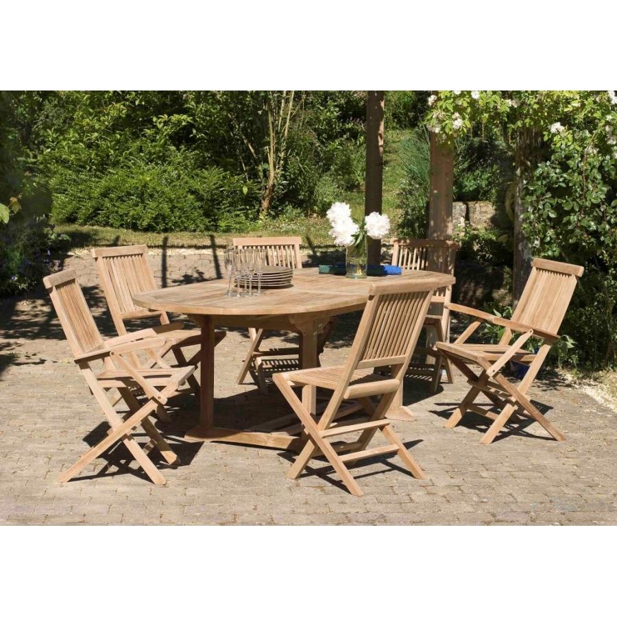 Salon de jardin n 3 en teck comprenant 1 table ovale 4 for Table 3 en 1