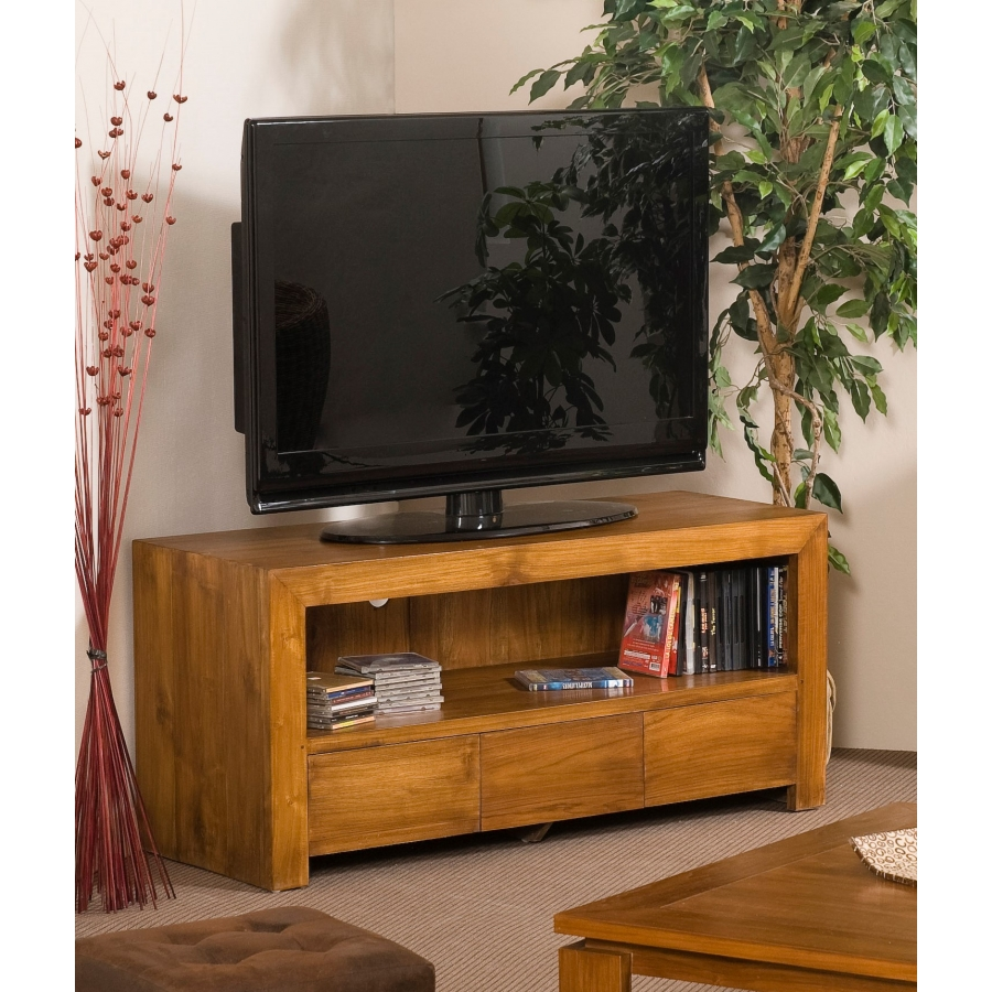meuble tv 3 tiroirs teck dpi import. Black Bedroom Furniture Sets. Home Design Ideas