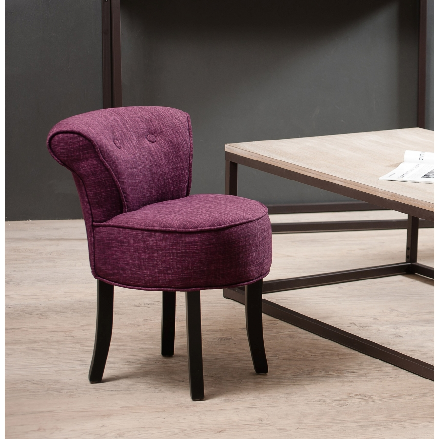tabouret rond avec dossier tissu couleur prune dpi import. Black Bedroom Furniture Sets. Home Design Ideas