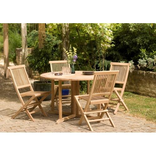 Salon de jardin n°18 en teck comprenant 1 table ronde ...
