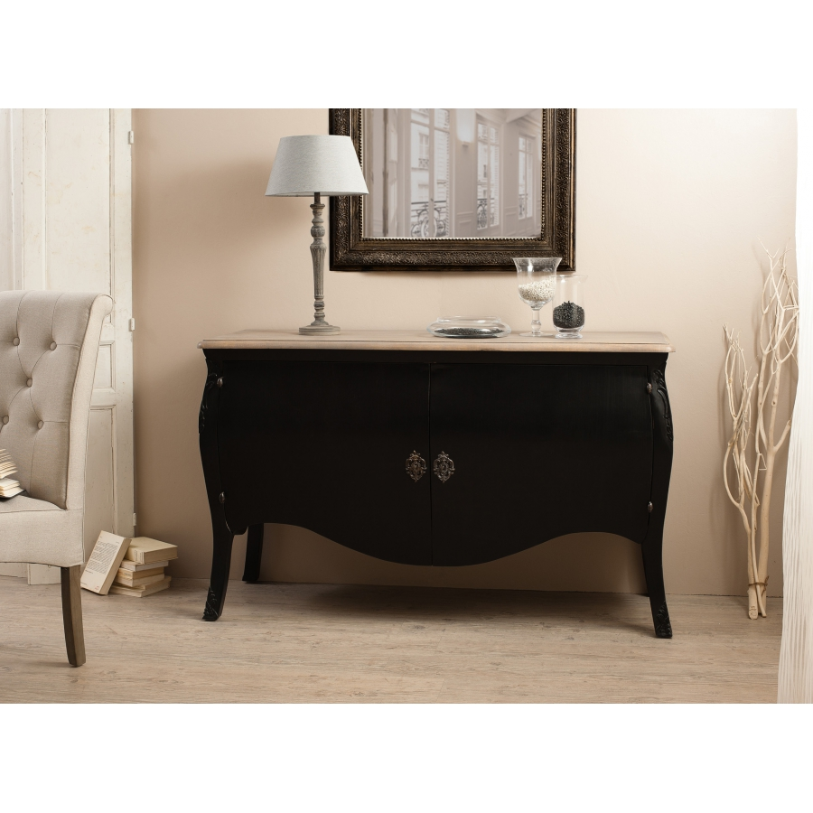buffet 2 portes couleur noire manguier dpi import. Black Bedroom Furniture Sets. Home Design Ideas
