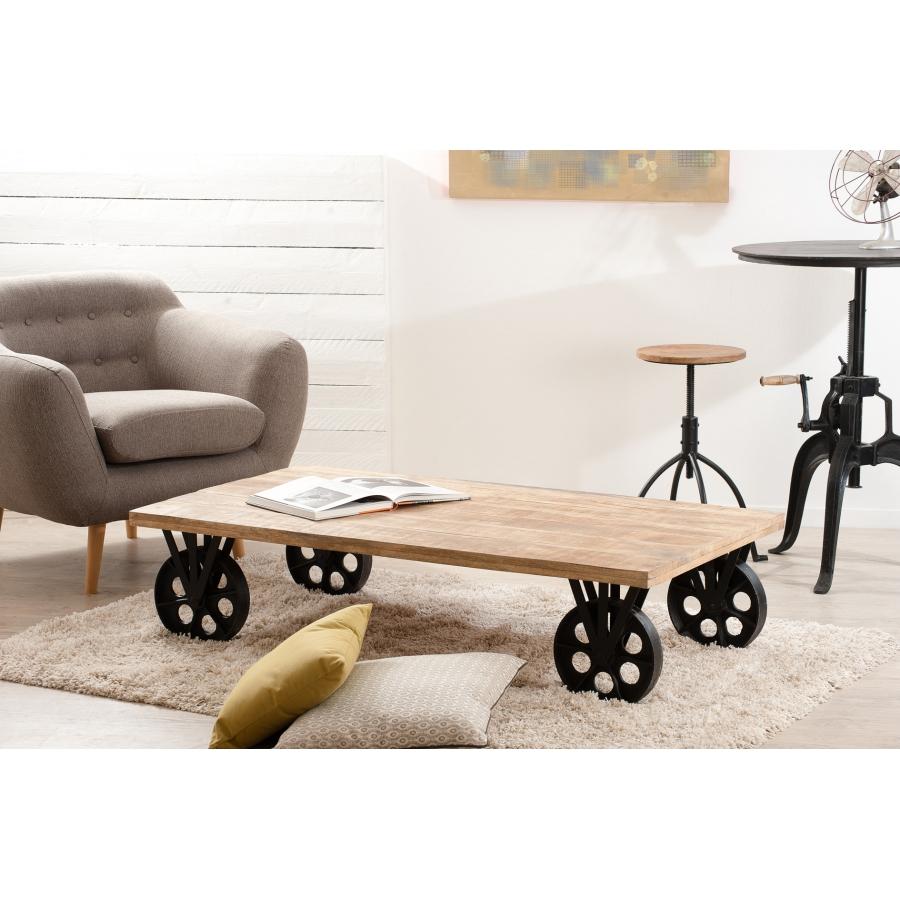 table basse industrielle grosses roulettes dpi import. Black Bedroom Furniture Sets. Home Design Ideas