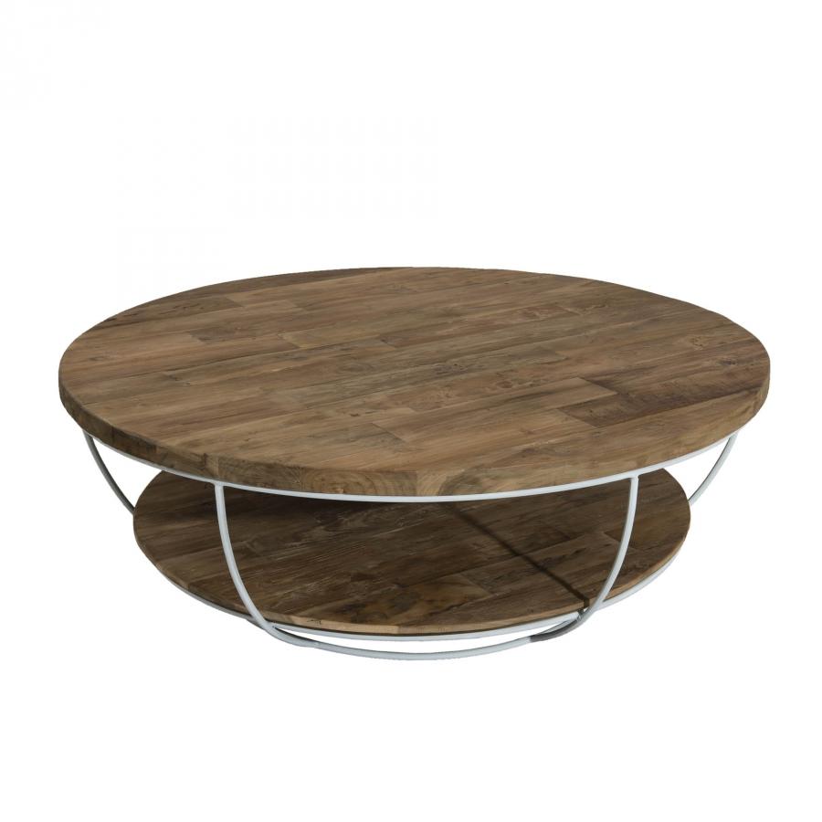 Table basse coque blanche double plateau 100 x 100 cm for Table basse double plateau