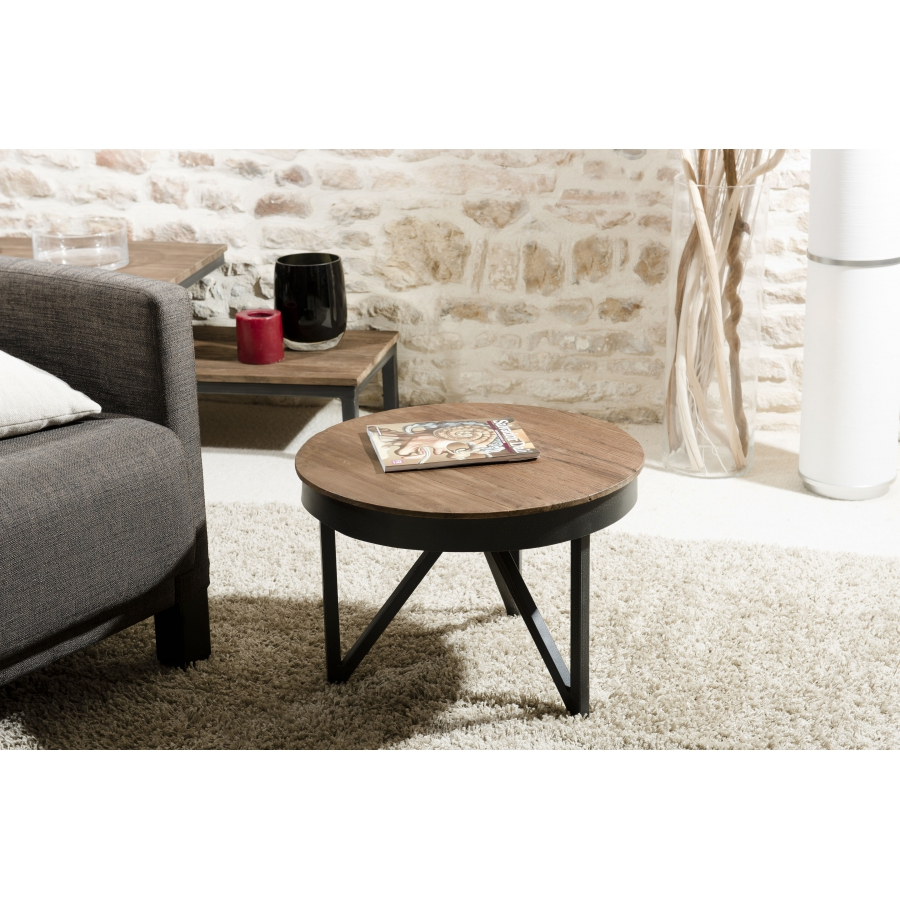 table basse ronde d 39 appoint 50 x 50 cm bois et m tal dpi import. Black Bedroom Furniture Sets. Home Design Ideas
