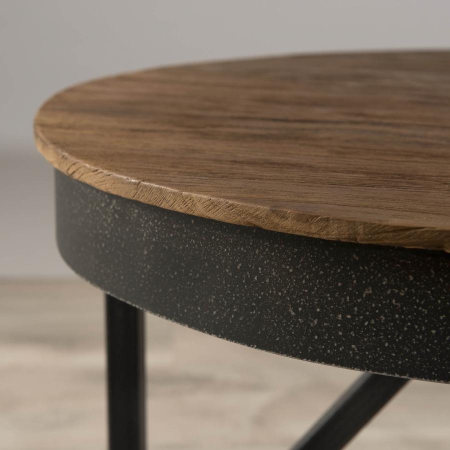 Table basse ronde d 39 appoint 50 x 50 cm bois et m tal dpi for Table basse gigogne ronde bois