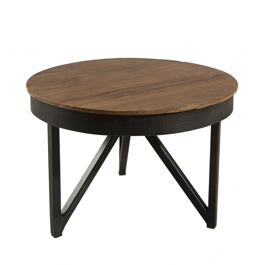 Table basse ronde d 39 appoint 50 x 50 cm bois et m tal dpi for Table basse d appoint