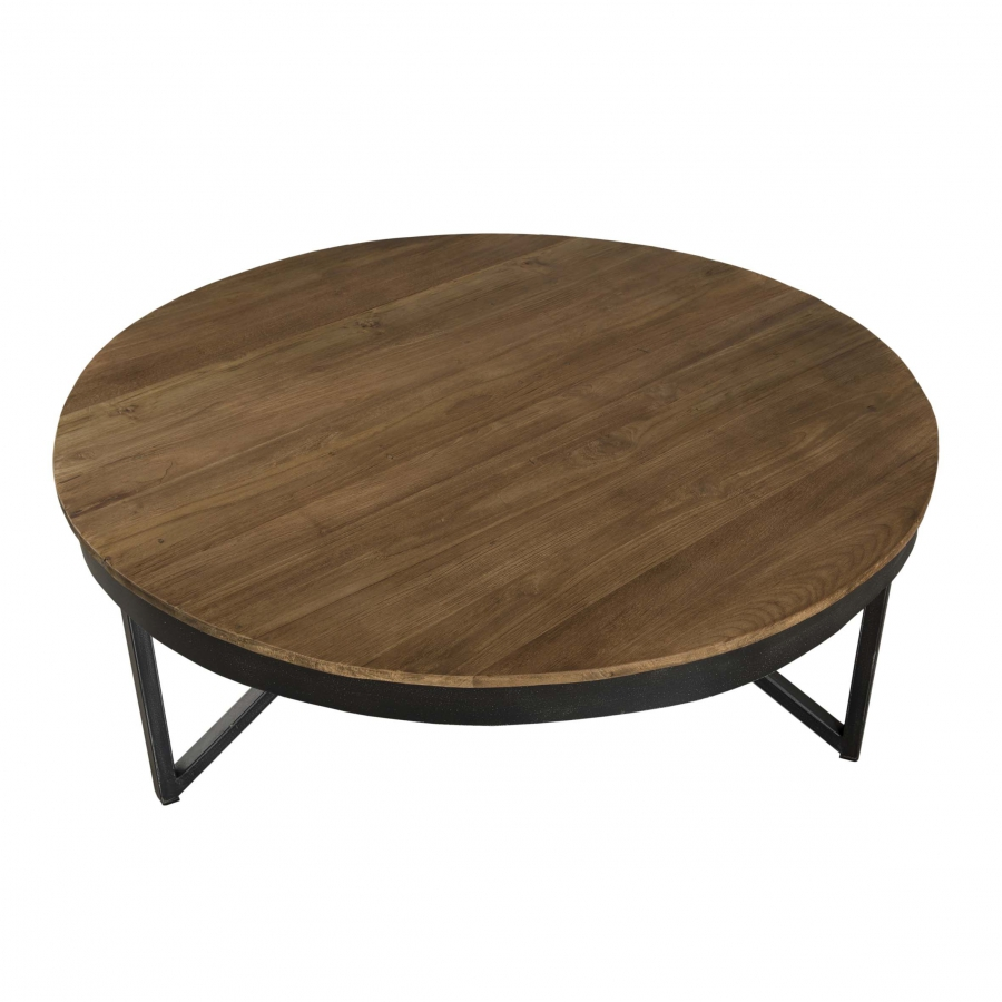 table basse ronde 90 x 90 cm bois et m tal dpi import. Black Bedroom Furniture Sets. Home Design Ideas