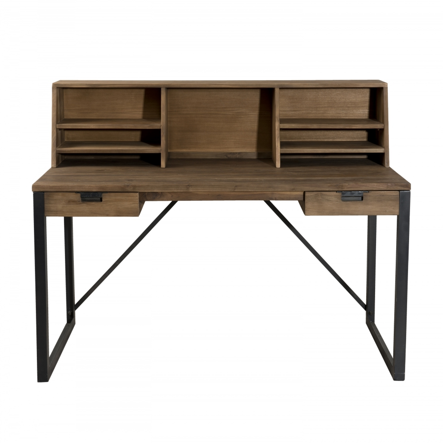 bureau 2 tiroirs bois et m tal avec tag res dpi import. Black Bedroom Furniture Sets. Home Design Ideas