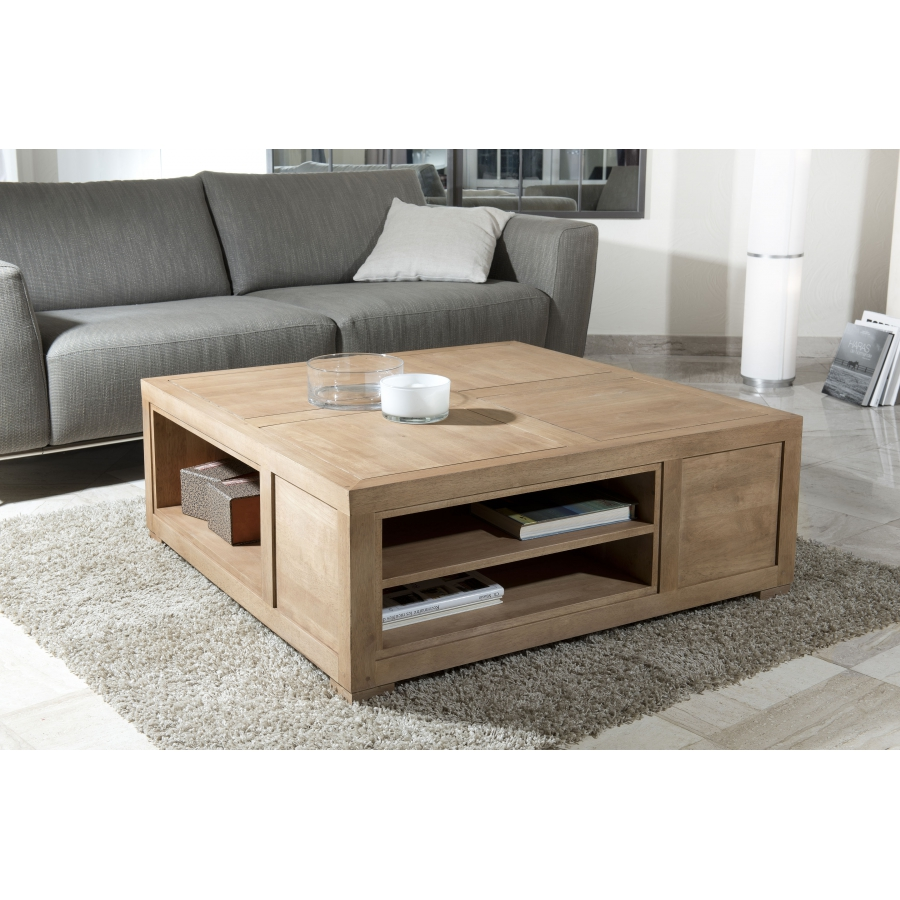 Table basse carr e avec niches de rangement dpi import - Table basse carree en bois ...