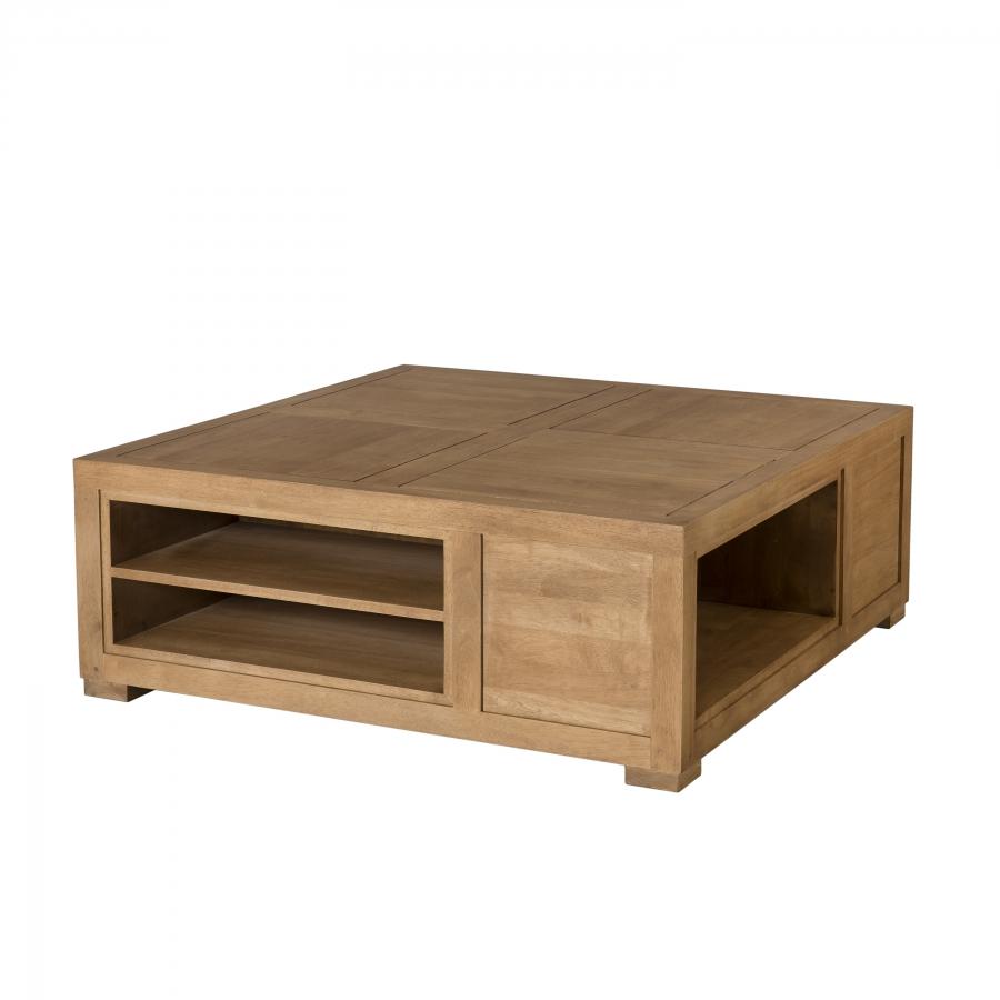 Table basse carr e avec niches de rangement dpi import - Table basse avec rangement bar ...