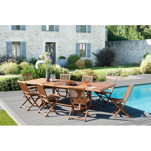 Salon de jardin n°103 comprenant 1 table rectangulaire 200/300 x 120 ...