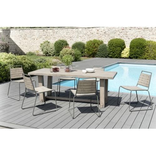 Salon de jardin n°304 comprenant 1 table à manger rectangulaire et 3 ...