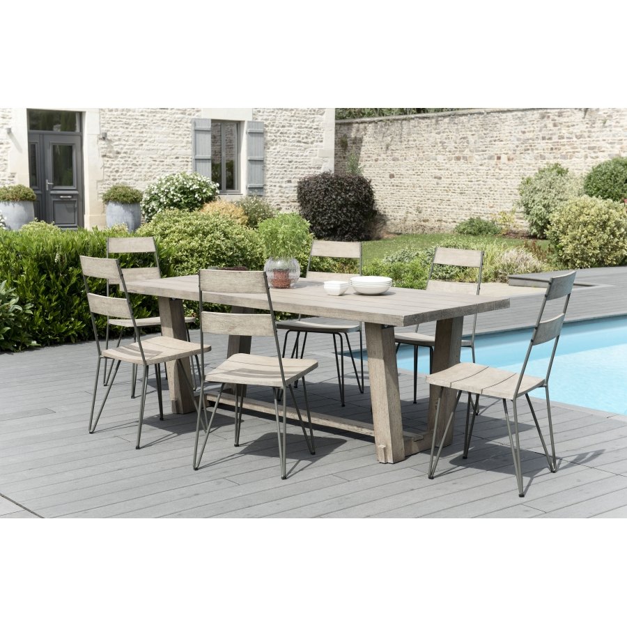 salon de jardin n 305 comprenant 1 table manger rectangulaire et 3 lots de 2 chaises scandi. Black Bedroom Furniture Sets. Home Design Ideas