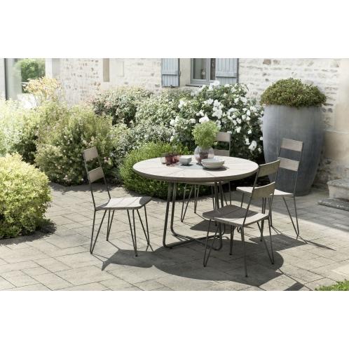 Salon de jardin n°306 comprenant 1 table à manger ronde et 2 ...