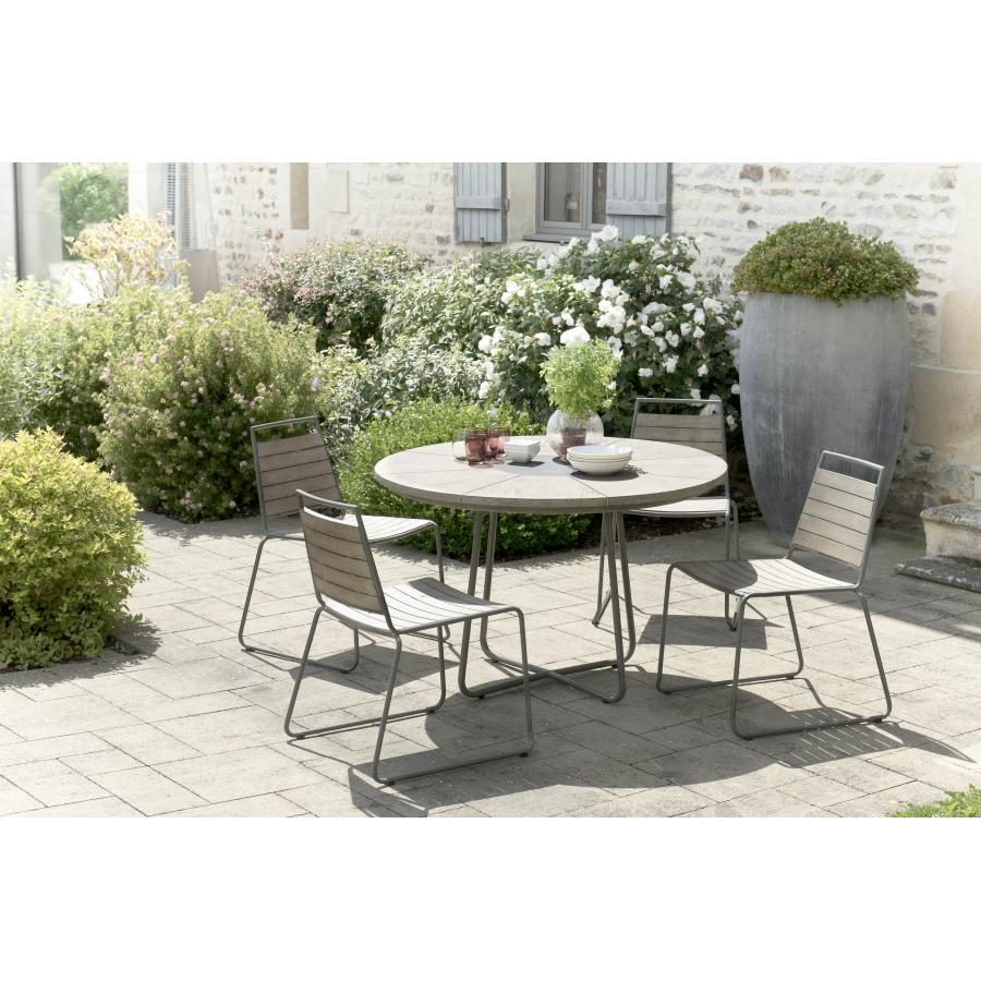 Salon de jardin n°307 comprenant 1 table à manger ronde et 2 ...