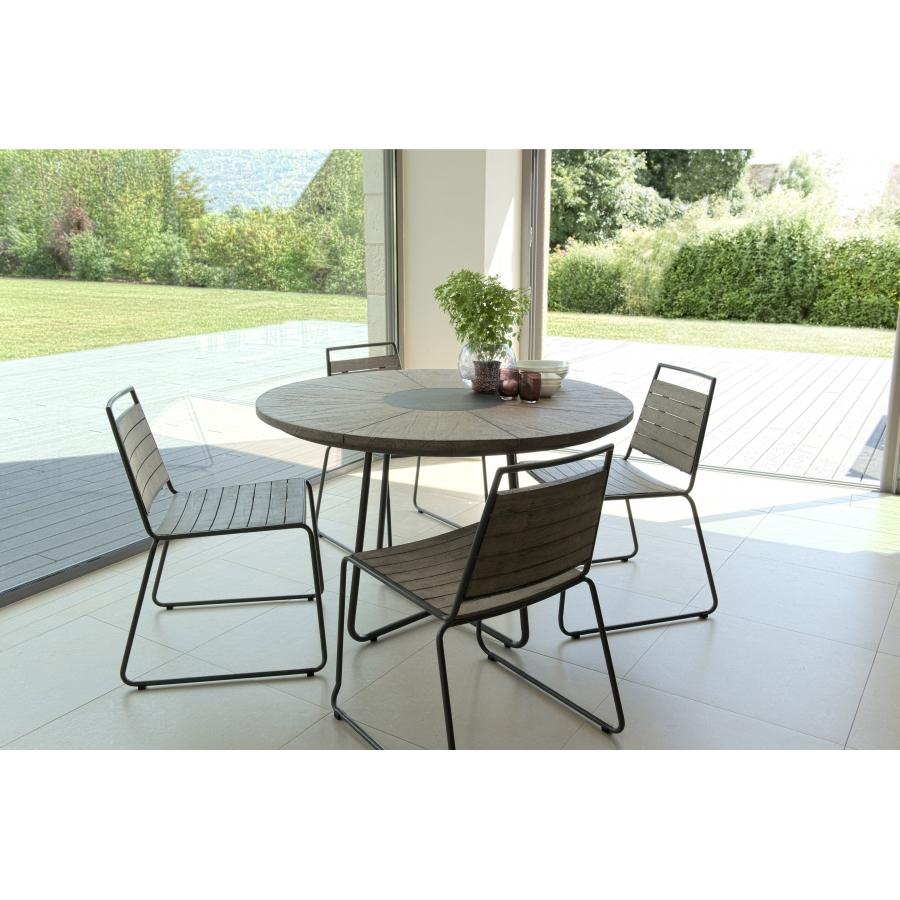 Salon de jardin n°307 comprenant 1 table à manger ronde et 2 lots de ...