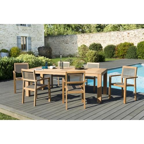Salon de jardin n°137 comprenant 1 table à manger DENVER 220*100cm ...