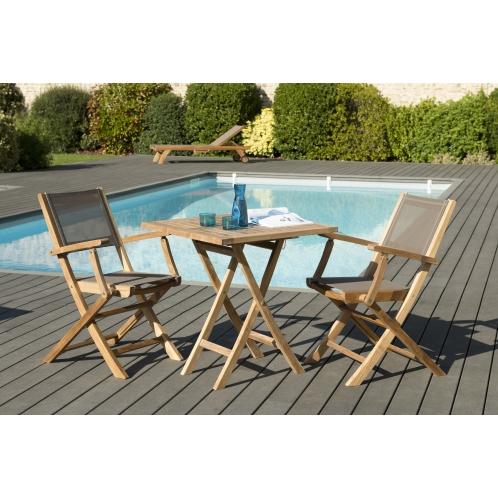 Salon de jardin n°148 comprenant 1 table carrée pliante 70*70cm et 1 ...