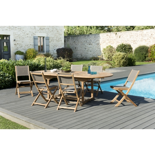 Salon de jardin n°120 comprenant 1 table ovale extensible 180/240 ...