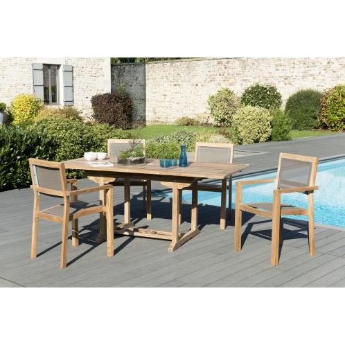 Salon de jardin n°121 comprenant 1 table rectangulaire 120/180*90cm ...
