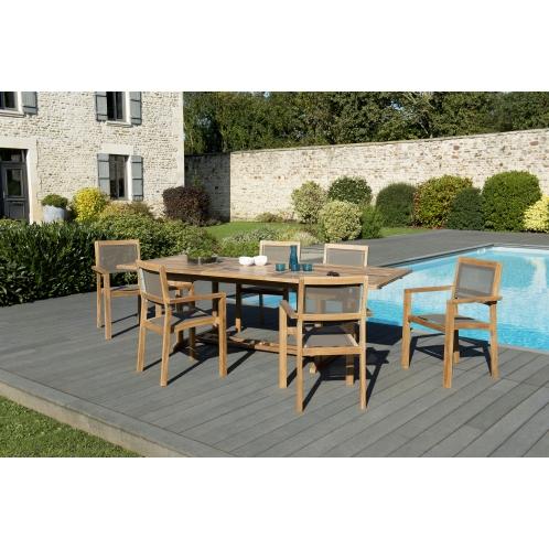 Salon de jardin n°124 comprenant 1 table rectangulaire extensible ...