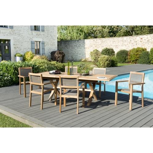 Salon de jardin n°129 comprenant 1 table rectangulaire pieds ...
