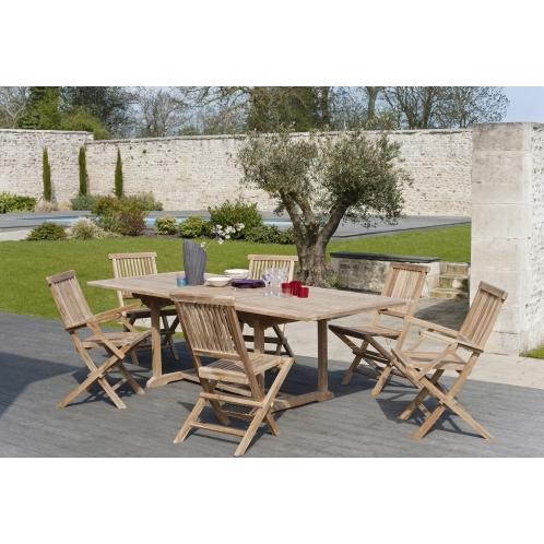 Salon de jardin n°5 en teck comprenant 1 table rectangulaire ...