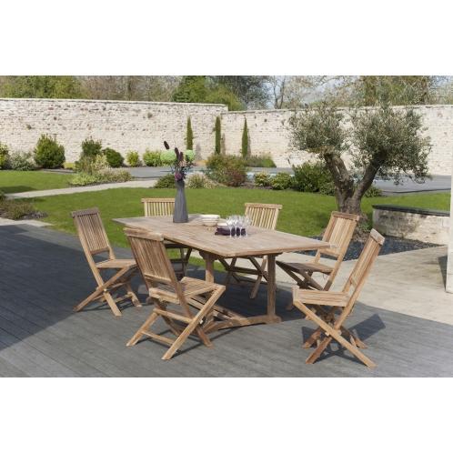 Salon de jardin n°6 en teck comprenant 1 table rectangulaire ...