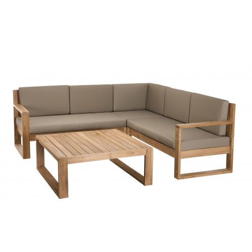 Salon de jardin ACAPULCO - Ensemble de 3 fauteuils et 1 table basse ...