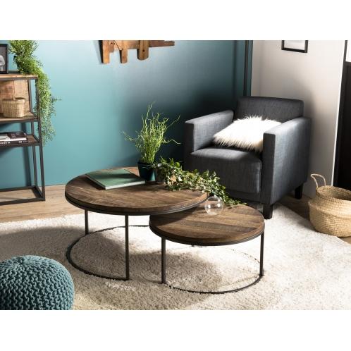 Yaheetech Table dAppoint Bout de Canap/é en Bois Industriel Rond /à 2 Niveaux Gu/éridon Style R/étro Meuble de Salon Chambre Marron