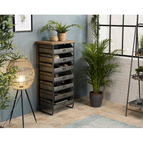 Chiffonnier / meuble 7 tiroirs Zinc plateau Sapin marqueté ...